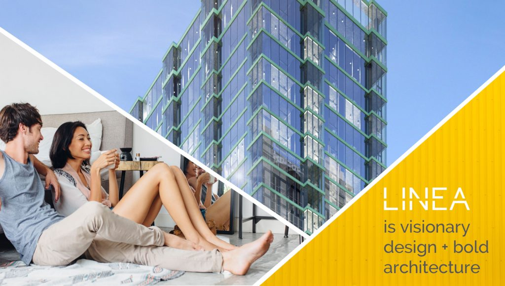 A sequence of three merged images: Couple sitting on their bedroom floor, building exterior and a blurb with
