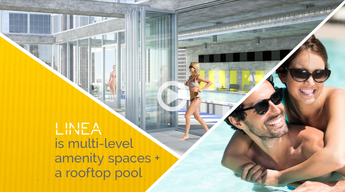 """A sequence of three merged images"""" A blurb that says """"Linea is multi-level amenity spaces + a rooftop pool"""", a lady running by the indoor-outdoor pool and a couple enjoying the pool"""